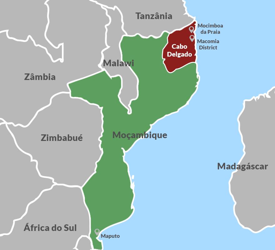Mappa del Mozambico e della provincia Cabo Delgado