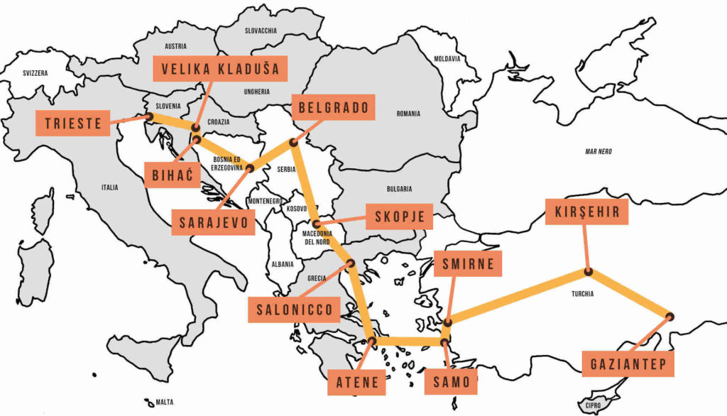 Mappa di Umanita Ininterrotta. Lungo la Rotta balcanica con i missionari Scalabriniani