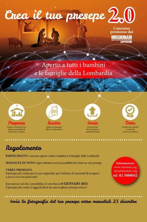 Locandina Crea il tuo presepe 2.0. Concorso del Centro missionario Cappuccini di Milano.