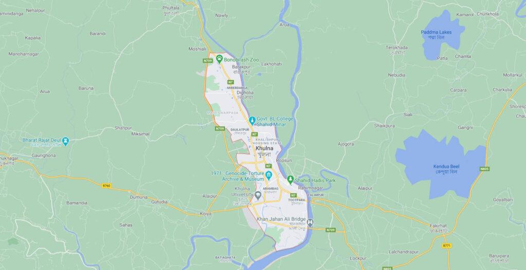 mappa geografica città di Khulna, in Bangladesh