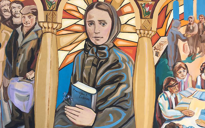 New York - Un murale pubblico in onore di Santa Francesca Cabrini si trova al 500 di Hicks Street di fronte alla ex Scuola del Sacro Cuore tra Kane e Degraw street.