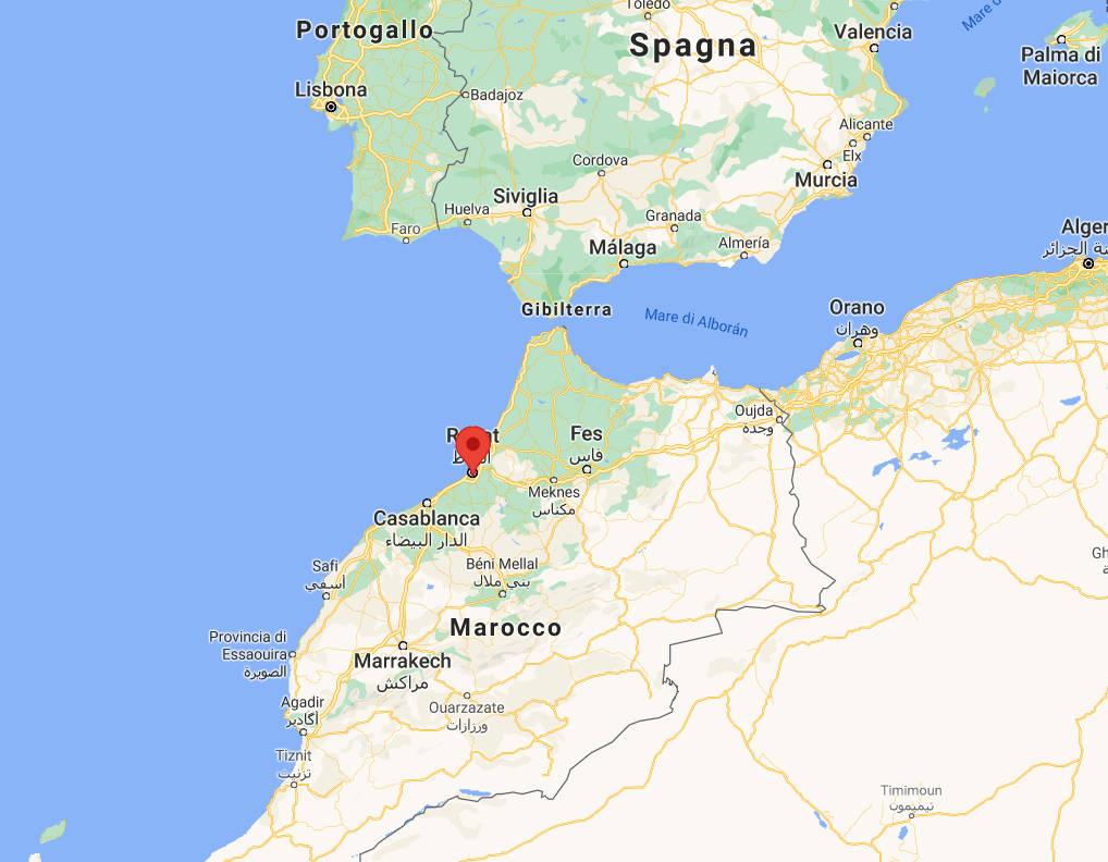 Mappa della missione di Rabat, in Marocco